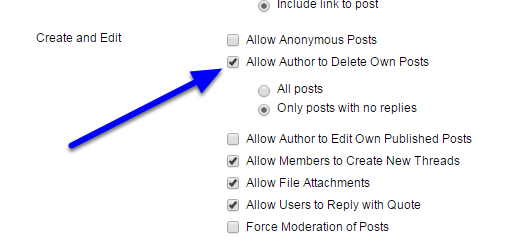 "Scroll down to Forum Settings. In ""Create and Edit,"" check off the box next to ""Allow Author to Delete Own Posts."""