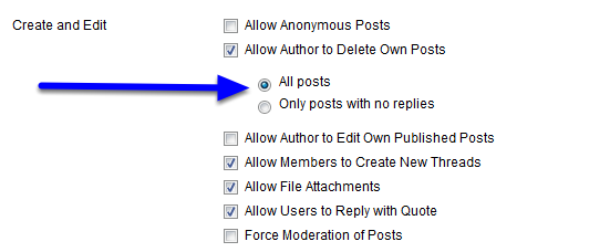 """Click next to """"All posts"""" to allow students to be able to delete any post, including those to which others have replies."""