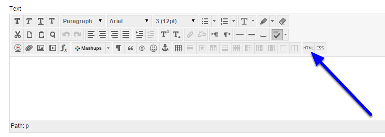 In the text field, click on the HTML button in the text editor bar.