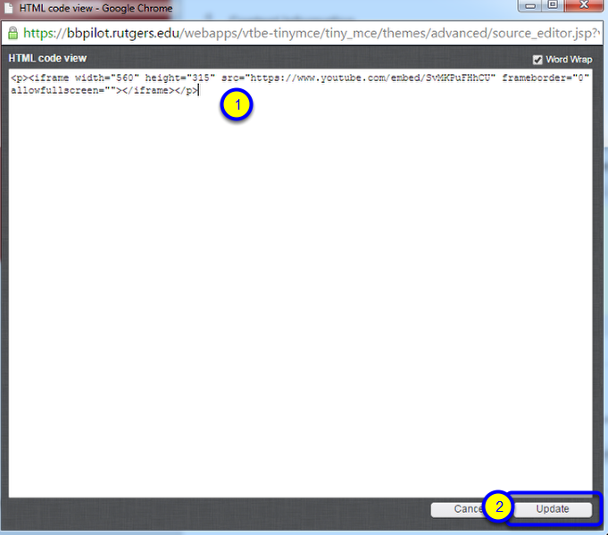 In the HTML code view box, paste the embed code that you copied from your YouTube video, and click Update.