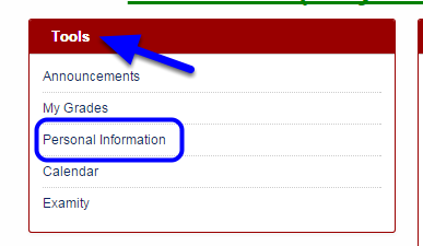 In the Tools module, click on Personal Information.