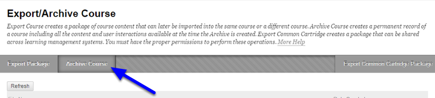 On the Export/Archive Course page, click Archive Course on the action bar.
