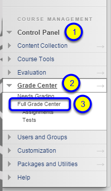 Click Full Grade Center from the expanded menu.