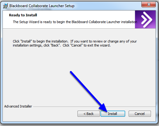 In the Blackboard Collaborate Launcher Setup box, click Next and then Install.