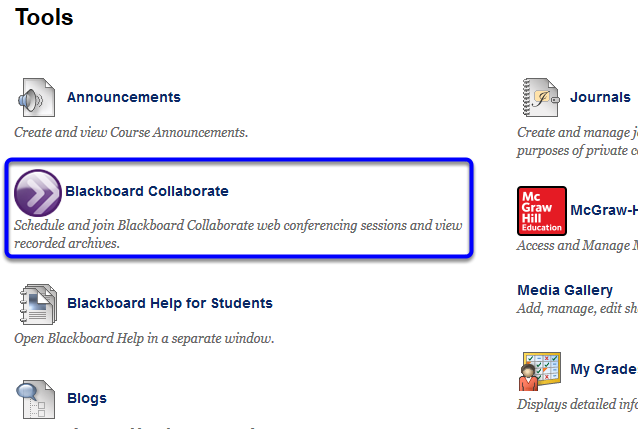 Click on Blackboard Collaborate on the Tools page.