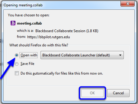"Click on the button next to ""Open with Blackboard Collaborate Launcher (default)"" and click OK."