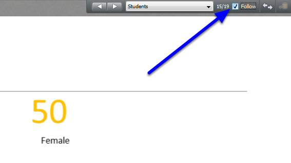 Check the Follow box to have members in the session view only the pages/slides that you have displayed on your Blackboard Collaborate screen.