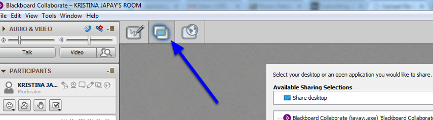 Click the screen share icon (looks like two overlapping boxes).