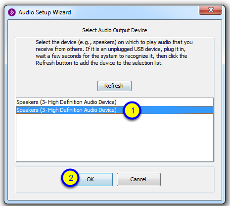 Click on your speakers, then click OK.