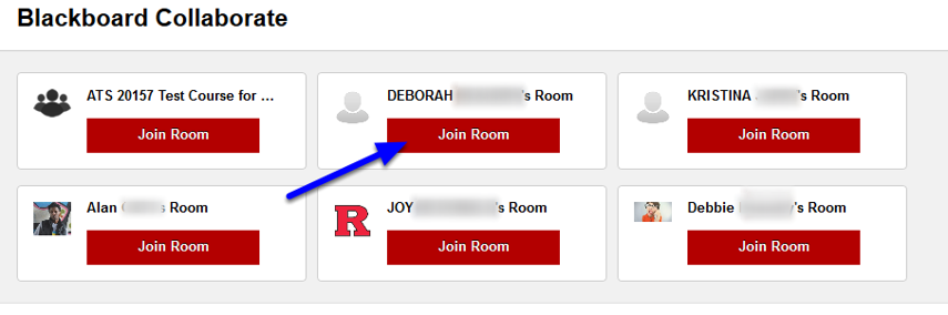 Navigate to your Blackboard Collaborate page, and click Join Room on any open collaborate session.