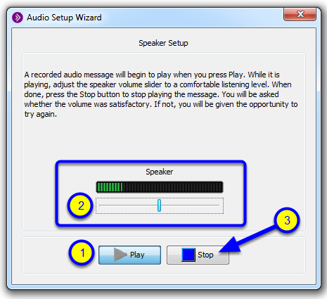 Click Play, and drag the speaker slider to the left or right to adjust the volume according to your preference. Click the Stop button once you have finished.