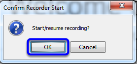 Confirm that you would like to start your recording by clicking OK.