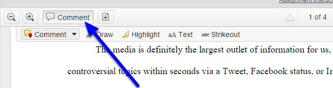 Create marginal comments by clicking on the Comment button to expand the comment menu.
