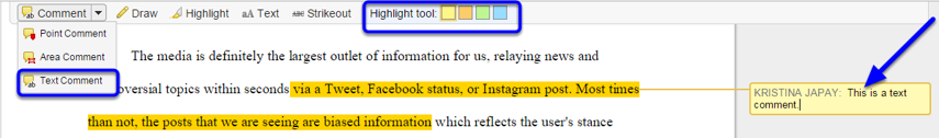 To comment on certain text in the assignment, click on the Comment button, and select Text Comment. Then highlight the text, and enter your comment in the text box.