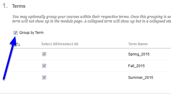 In the Terms section, check off the box next to Group by Term.