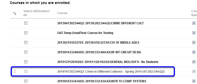 Change the order of your courses by clicking on a course and dragging it to your desired location on the list.