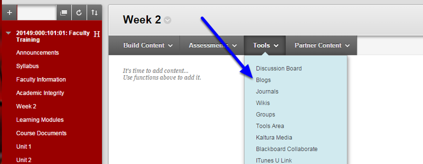 From the Tools menu, select Blogs.