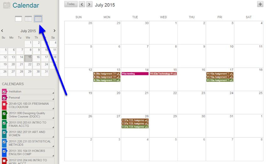 The default view for the calendar is by month.