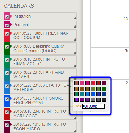 Click on a color in the menu or enter a color value in the text box.