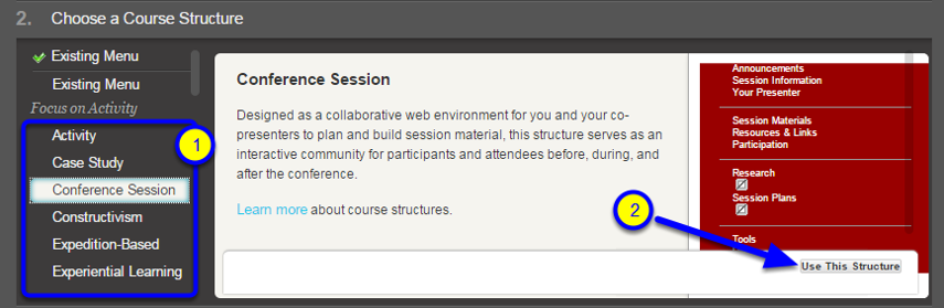 "Select a course structure from the list, and click ""Use This Structure."""