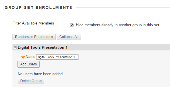 """For each group, click """"Add Users"""" and the list of students will appear."""
