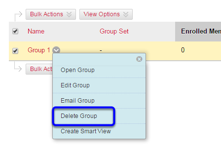 In the expanded menu, click on Delete Group.