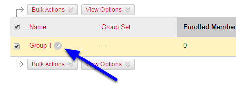 Hover your mouse over the title of the group you would like to delete, and click the down arrow to the right of the group name.