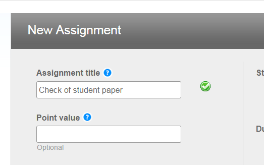 "In the ""Assignment title"" field, type a name for this assignment and click Submit."