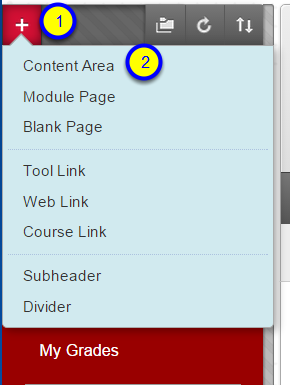 "Hover your mouse over the + sign in the upper left corner and click on ""Content Area."""