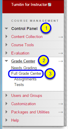 In the Control Panel area, click Grade Center and Full Grade Center.