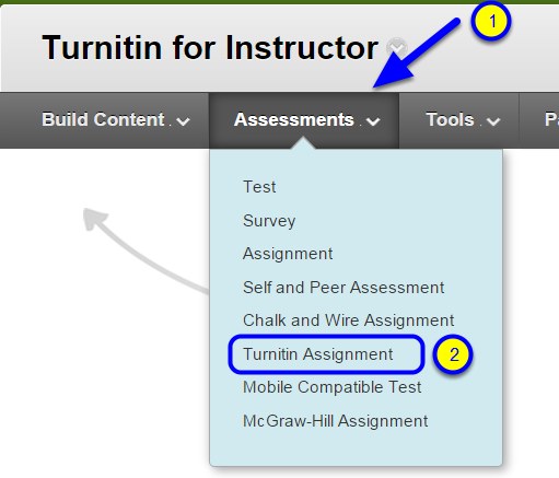 "Hover your mouse over the Assessments menu and click ""Turnitin Assignment."""
