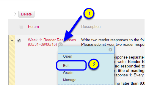 Hover your mouse to the right of the discussion board name, click the down arrow that appears and select Edit.
