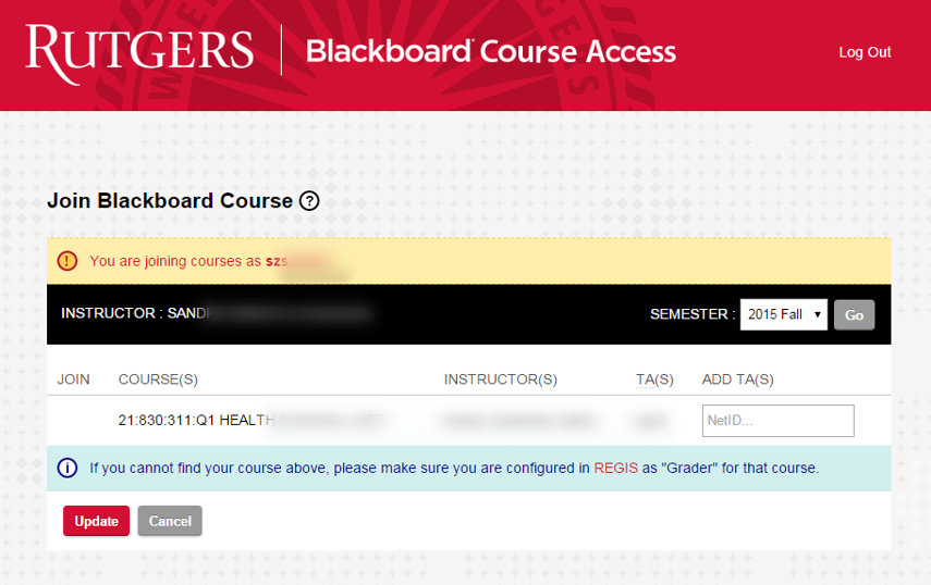 The list of course to which you have been assigned access in Regis will appear.