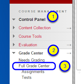 In the Control Panel, click Grade Center and Full Grade Center.