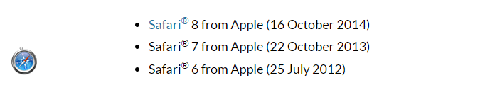 Blackboard is compatible with these versions of Safari.