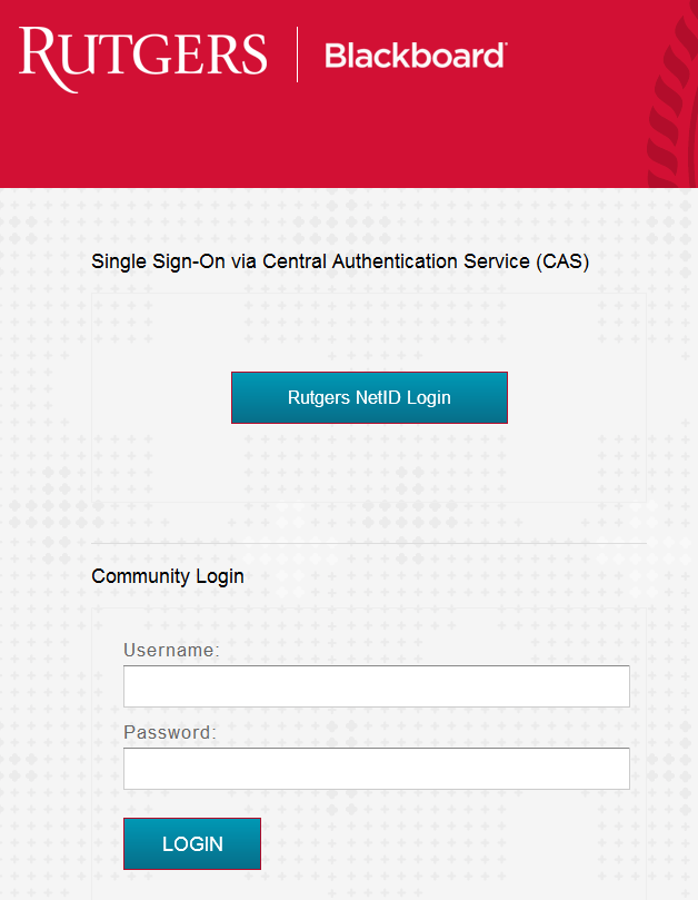 Click on Rutgers NetID Login button (unless you are specifically a Community user).