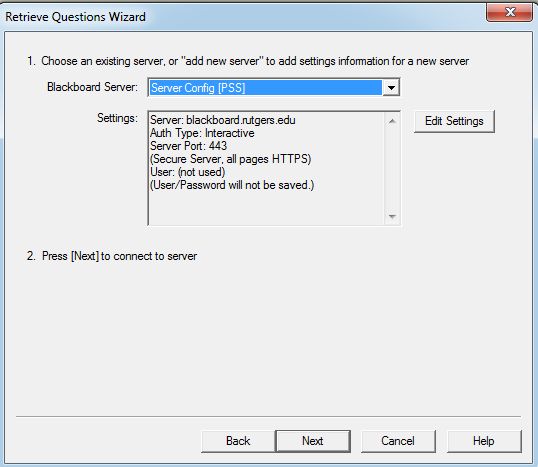 Select Server Config [PSS] from the Blackboard Server pull-down menu and click Next.