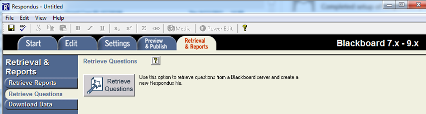 Click on Retrieval & Reports tab and then click Retrieve Questions button.