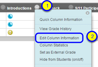 """Locate the column to which you would like to assign a category. Click the down arrow to the right of the column name and select """"Edit Column Information."""""""