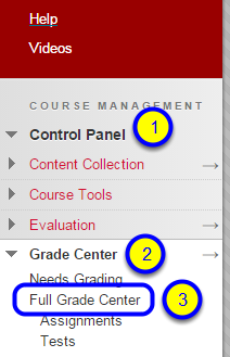 In the Course Management section of your course, click Control Panel, Grade Center and Full Grade Center.