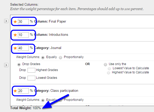 When you've selected all the appropriate assignment names and categories, enter the weight for each item. Notice that they all need to add to 100% for the Total Weight.
