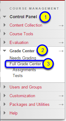 """In the expanded menu, click on """"Full Grade Center."""""""