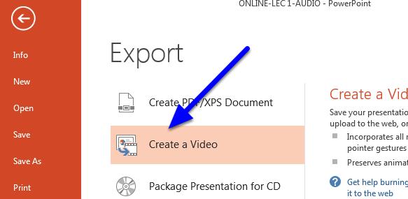 """Click """"Create a Video."""""""
