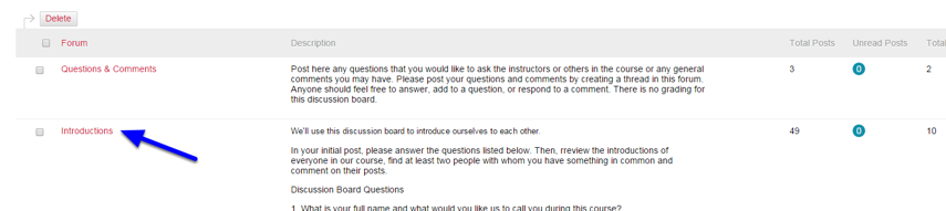 Click the name of the discussion board.