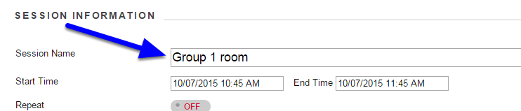 """In the """"Session Name"""" box, enter the name of the session."""
