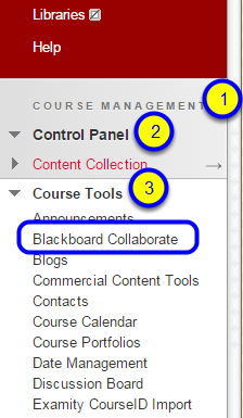 In the Course Management section of your course, go to click Control Panel, Course Tools, and then Blackboard Collaborate.