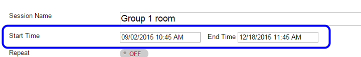 """In the """"Start Time"""" and """"End Time"""" fields, select the date and time you would like the room to be available. If you want the room to be available all semester, select the """"Start Time"""" as the date the course begins and the """"End Time"""" as the last day of classes."""
