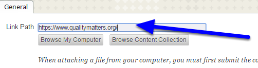 "In the ""Link Path"" box, enter the full website address/URL."