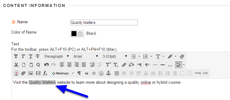 Highlight the text that you want to link to a website.