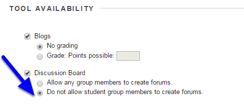 "Scroll down to the Tool Availability section and in the Discussion Board section click the button next to ""Do not allow student group members to create forums."""